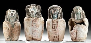Set 4 Egyptian 26th Dynasty Canopic Jars Art Loss Cert