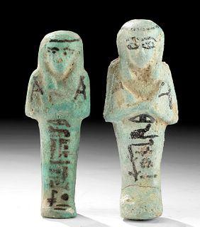Translated Egyptian Faience Ushabti - Husband & Wife