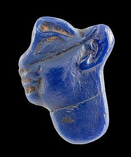 Egyptian Sebennytic Ptolemaic Glass Profile Face Inlay