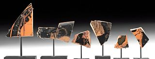 Greek Attic Red-Figure Kylix Fragments (6)