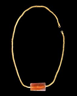 Greek 22K+ Gold Braided Necklace w/ Carnelian Pendant