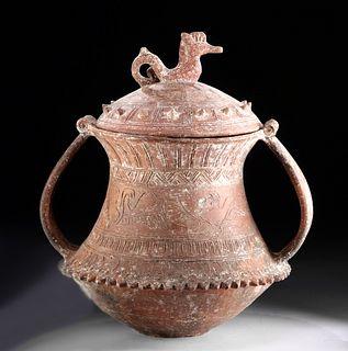 Etruscan Orientalizing Period Terracotta Lidded Vessel