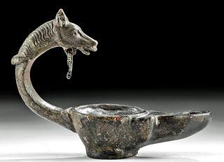 Roman Bronze Oil Lamp w/ Horse Handle