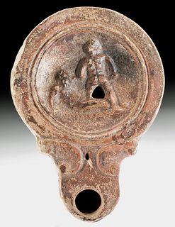 Roman Terracotta Oil Lamp w/ 2 Nude Wrestlers