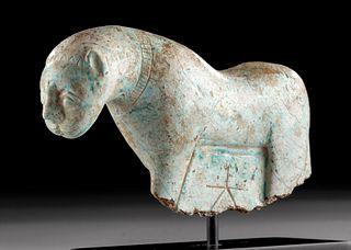 Incredible Phoenician Glazed Steatite Feline w/ Ankh