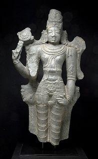 Huge Indian Chola Tamil Nadu Stone Vishnu, ex-Sotheby's