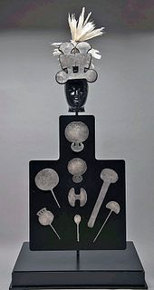 Tiahuanaco Silver Tupus, Ornaments, Crown, ex-Messick