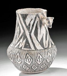 Anasazi Gallup Black on White Vessel w/ Animal Head