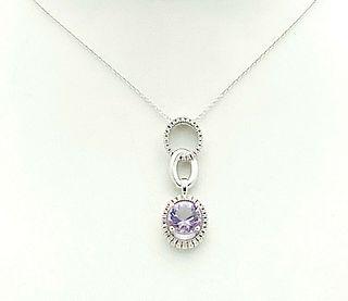 Mauboussin 18k Gold Amethyst Diamond  Pendant Necklace