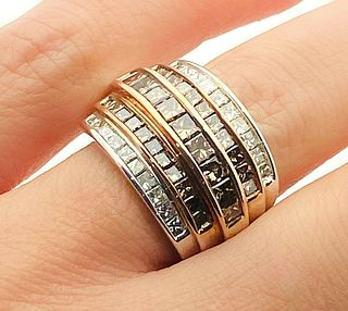 14k Gold White & Brown Diamond Cocktail Ring  Size 6