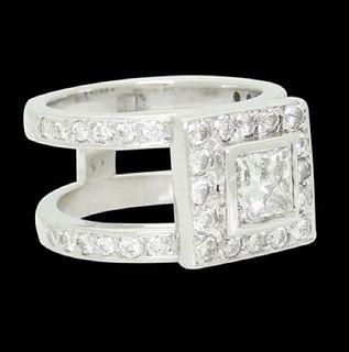 14k Gold 1.90 Ct TCW Princess Center Diamond Ring