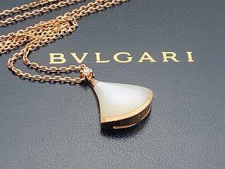 BVLGARI 18K MOTHER OF PEARL DIAMOND PENDANT NECKLACE