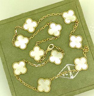 Van Cleef & Arpels 18k Vintage Alhambra Necklace MOP