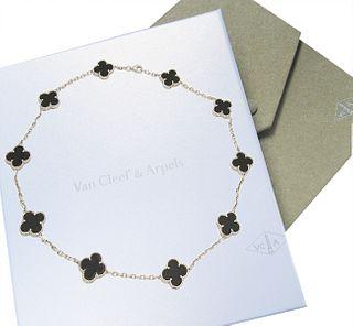 Van Cleef & Arpels 18K White Gold Black Onyx Alhambra