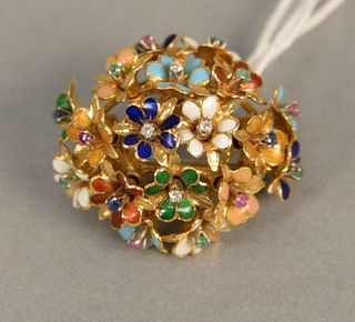 18K gold brooch made of multiple enameled flowers set with diamonds, rubies and sapphires. 12.1 grams, 1 1/4 in.