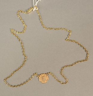 14K gold chain with cat pendant. lg 24 in., 15.9 grams.