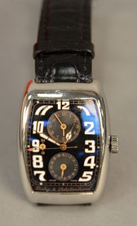 Dubey and Schaldenbrand Mens Wrist Watch, rectangle Aerodyn Duo with original band box and some papers.