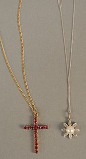Two pendants and chains to include 14K gold cross and chain, cross set with small rubies plus 14K white gold pendant and chain set with pearl and smal