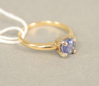 14K gold ring set with blue sapphires, size 5 7/8. approximately .90 carats.