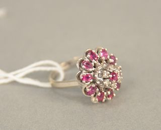 14K white gold cocktail ring set with red stones and small diamonds, size 6 3/4. 8.4 grams.