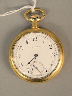 Howard pocket watch with screw on back. 50 mm.