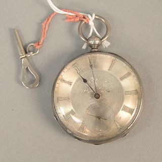 Silver Tobias key wind pocket watch.