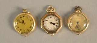 Three 14K gold lapel watches. total weight 38 grams.