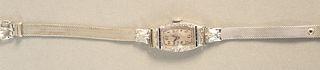 Bulova 18K white gold ladies vintage wristwatch.