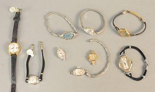 Nine vintage ladies wristwatches, with three being 14K gold.