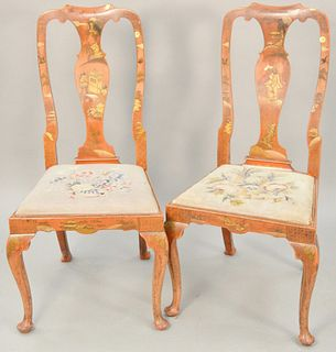 Pair of Queen Anne style side chairs, Chinoiserie decorated with needlepoint seats. ht. 42 in., seat height 17 1/4 in. Provenance: The Estate of Ed Br