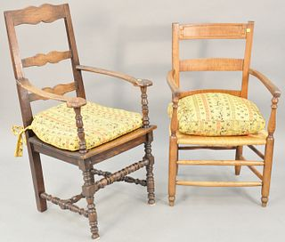 Two chairs, Jacobean armchair with ladder back on turned legs, 17th - 18th century (restored), along with a Continental ladder back chair. ht. 44 1/2