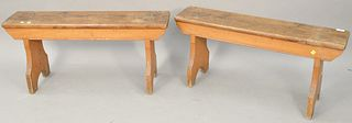 Pair of primitive style benches. ht. 17 in., wd. 36 in. Provenance: Former home of Mel Gibson, Old Mill Rd, Greenwich, CT