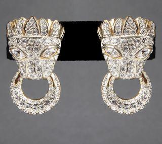 MV Vellano Gold-Tone & Rhinestones Lion Earrings
