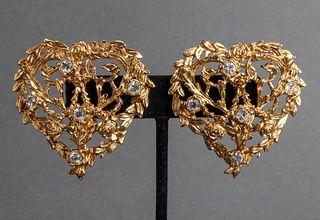 Yves Saint Laurent Gold-Tone Heart Motif Earrings