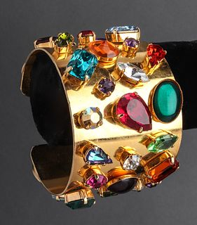Givenchy Vintage Gold-Tone & Faux-Jewel Cuff