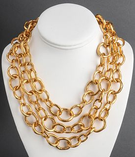 Karl Lagerfeld Gold-Tone Three Row Chain Necklace