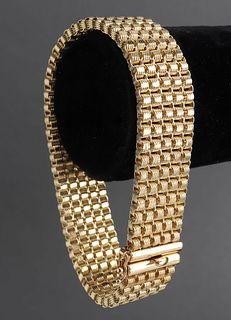 Peruvian 14K Yellow Gold Wide Mesh Bracelet