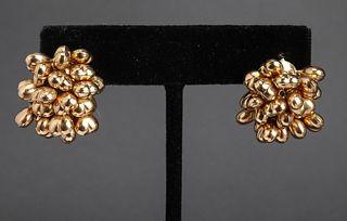 Italian 18K Yellow Gold Heart Cluster Earrings