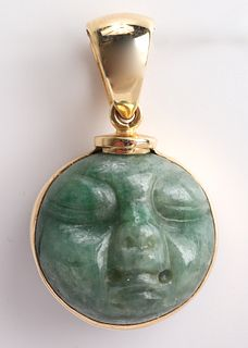 Jost 18K Yellow Gold Carved Jade Face Pendant