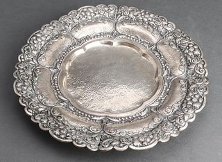 Continental 800 Silver Repousse Footed Tray