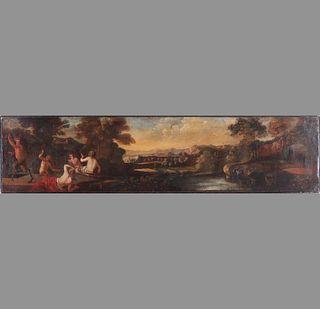 19th C. Mythological Landscape Scene Oil on Canvas