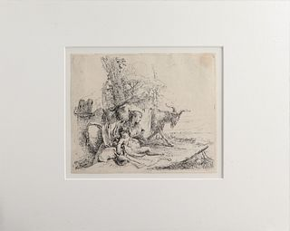 """Tiepolo """"Nymph w Small Satyr & Two Goats"""" Etching"""