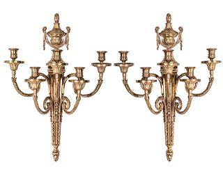 Neoclassical Manner Gilt Bronze Sconces, Pair