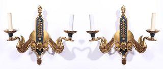 Neoclassical Manner Brass 2-Light Wall Sconces, Pr