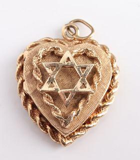 Judaica 14K Yellow Gold Star Of David Heart Locket