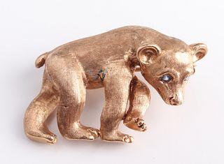 14K Yellow Gold & Blue Topaz Baby Bear Cub Brooch