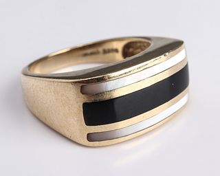 14K Yellow Gold Onyx & Mother-Of-Pearl Inlay Ring