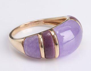 14K Yellow Gold Purple Jade Inlay Ring