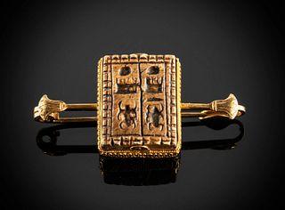 Egyptian Steatite Bead Thutmose III / Electrum Brooch