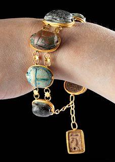 18K+ Gold Bracelet w/ 7 Large Egyptian Faience Scarabs